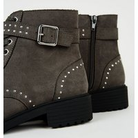 Girls Grey Suedette Studded Lace Up Boots New Look