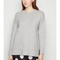 Pale Grey Exposed Seam Crew Neck Jumper New Look
