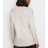 Pale Pink Exposed Seam Crew Neck Jumper New Look