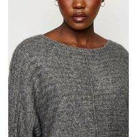 Dark Grey Ribbed Exposed Seam Batwing Jumper New Look