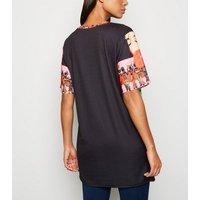 Cameo Rose Black Short Sleeve T-Shirt Dress New Look
