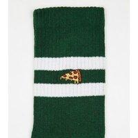 Dark Green Sport Stripe Pizza Embroidered Socks New Look