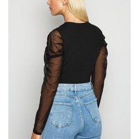 Black Mesh Sleeve Plunge Neck Bodysuit New Look