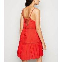 Red Crochet Panel Swing Beach Dress New Look