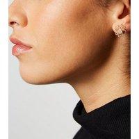 Gold Cut Out Flower Earrings New Look