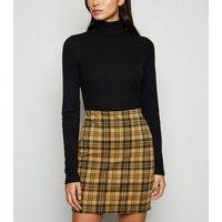 Yellow Check Tube Skirt New Look