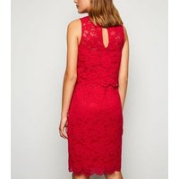 Red Lace High Neck Layered Shift Dress New Look