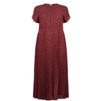 Curves Red Leopard Print Pleated Midi Dress New Look
