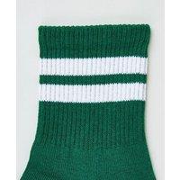 Green Sports Stripe Socks New Look
