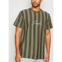 Khaki Vertical Stripe Brooklyn Slogan T-Shirt New Look
