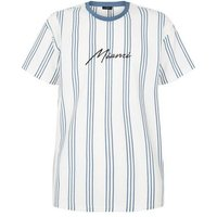White Vertical Stripe Miami Slogan T-Shirt New Look