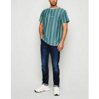 Teal Vertical Stripe Columbus Slogan T-Shirt New Look