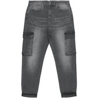 Men's Black Washed Cargo Jeans New Look