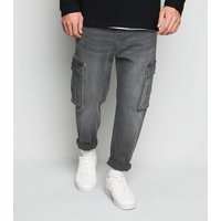 Men's Black Washed Denim Tapered Cargo Trousers New Look