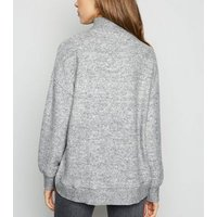 Grey Brushed High Neck Jumper New Look