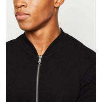 Black Muscle Fit Jersey Bomber Jacket New Look