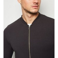 Dark Grey Muscle Fit Jersey Bomber Jacket New Look