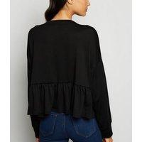 Black Fine Knit Peplum Hem Top New Look