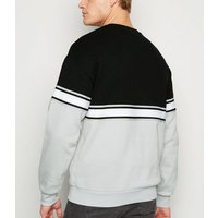 Black Tape Stripe Crew Neck Sweatshirt New Look