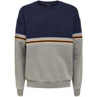 Navy Tape Stripe Crew Neck Sweatshirt New Look