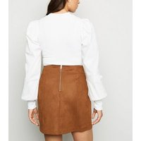 Tan Suedette Seamed Mini Skirt New Look