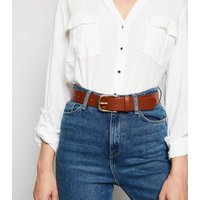 Tan Leather-Look Hip Belt New Look