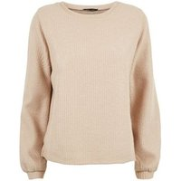 Camel Ribbed Balloon Sleeve Jumper New Look