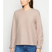 Pale Pink Ribbed Balloon Sleeve Jumper New Look