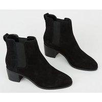 Black Suede Heeled Chelsea Boots New Look