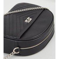 Black Chevron Quilted Shoulder Bag New Look Vegan