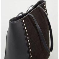Black Leather-Look Stud Trim Tote Bag New Look Vegan