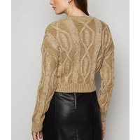 Carpe Diem Camel Cable Knit Jumper New Look