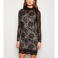 Carpe Diem Black Lace High Neck Dress New Look