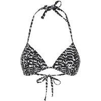 Black Zebra Print Triangle Bikini Top New Look
