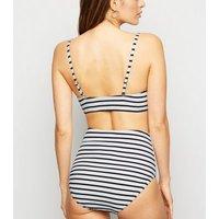 Navy Stripe Ribbed High Waist Bikini Bottoms New Look