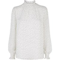 White Spot Shirred High Neck Blouse New Look