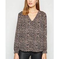Brown Satin Leopard Print Button Up Blouse New Look