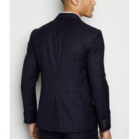 Navy Grid Check Suit Jacket New Look