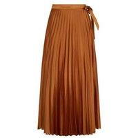 Rust Satin Pleated Wrap Midi Skirt New Look