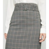 Light Grey Check Belted Midi Pencil Skirt New Look