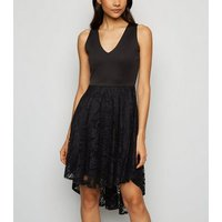 Mela Black Lace Overlay Dip Hem Dress New Look