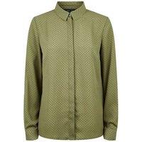 Green Spot Print Long Sleeve Shirt New Look