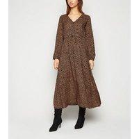 Brown Leopard Print Long Sleeve Midi Dress New Look
