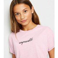 Girls Mid Pink Acid Wash Impossible Slogan T-Shirt New Look