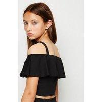 Girls Black Frill Cold Shoulder Top New Look