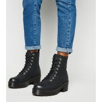 Black Leather-Look Cleated Lace Up Boots New Look Vegan