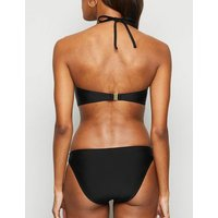 Black Notch Neck Wrap Bandeau Bikini Top New Look