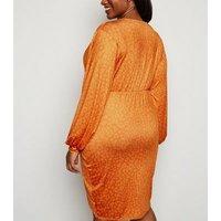 Just Curvy Orange Leopard Print Tie Wrap Dress New Look
