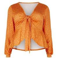Just-Curvy-Orange-Leopard-Print-Tie-Top-New-Look