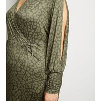 Just-Curvy-Khaki-Leopard-Print-Split-Sleeve-Midi-Dress-New-Look
